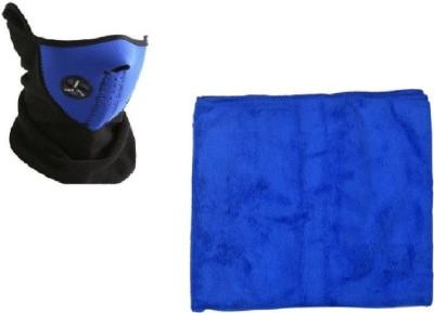 Bike World Anti-pollution half face mask Blue 1, 5M micro fibre washing cloth 1 Combo