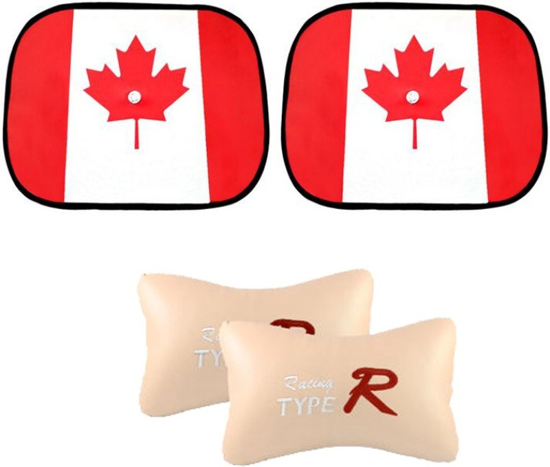 AutoKraftZ Car Side Sunshade Canada Flag Design Set Of 2, Type R Beige Combo