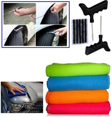 Auto Pearl 1Pcs Tubeless Tyre / Tire Puncture Kit, 1Pcs Micro Fiber Cloth Combo