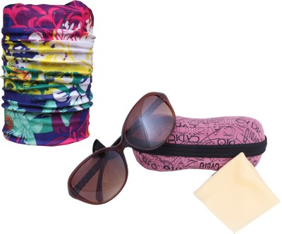 Sushito Stylish Brown Frame Sunglass For Women With Safety Bandana Combo