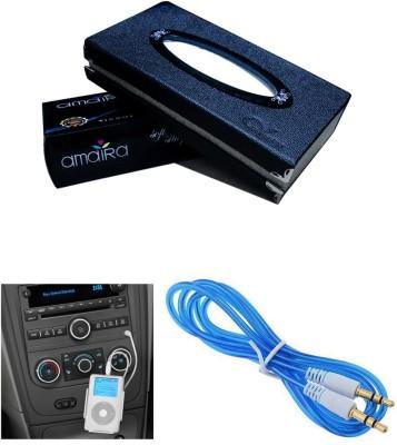 Auto Pearl 1Pcs Car Tissue Paper with Box Black, 1Pcs 3.5mm Aux Cable Combo