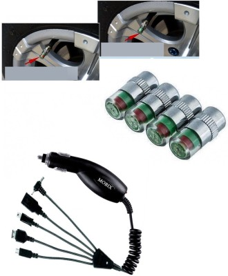 Auto Pearl 4Pcs Car and Bike Air Alert Tire Valve Cap, 1Pcs Mobix Charger Combo