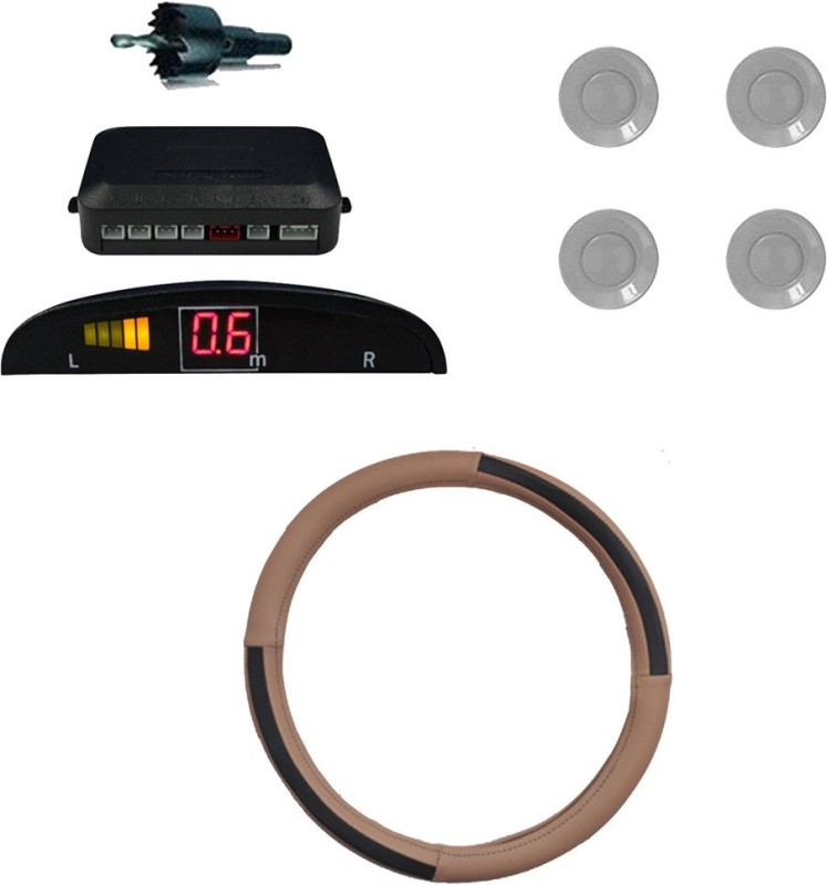 Allure Auto 1 Ring Type Car Steering Cover, Car Reverse Parking Sensor With Led Display- Silver Combo