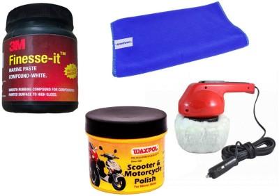 Waxpol 1 Car Polisher, 1 Waxpol Resin Polish, 1 3M Rubbing Compound, 1 Cleaning Cloth Combo