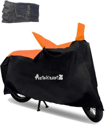 AutoKraftZ Premium Bike Body Cover Black & Orange::Half Cut Leather Gloves For Honda CB Shine SP Combo