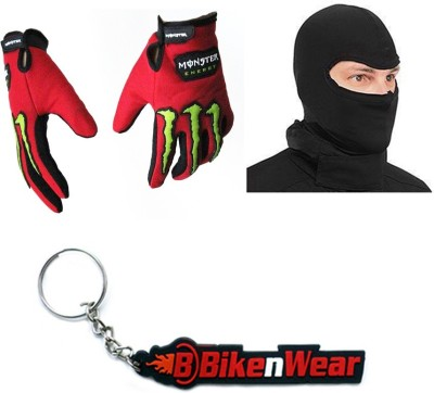 BikeNwear 1 Monster Gloves-Red Green, 1 Face Mask-Black, 1 Bikenwear Keyring Combo