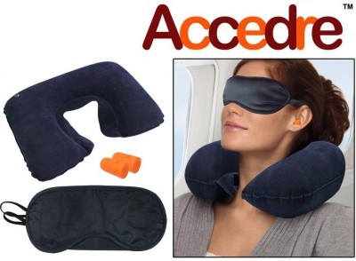 Accedre 1 Inflatable Neck Cushion, 1 Eye Mask, 1 Ear Plugs Combo