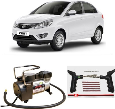 CreativeVia AutoCut-OFF Premium Metal Air Compressor With Tyre Punture Repair Kit For Tata Zest Combo