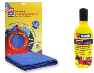 Abro 1 Car Wash n Glow, 1 Microfiber Cloth(CW-928-100ML, 1 CT-110) Combo