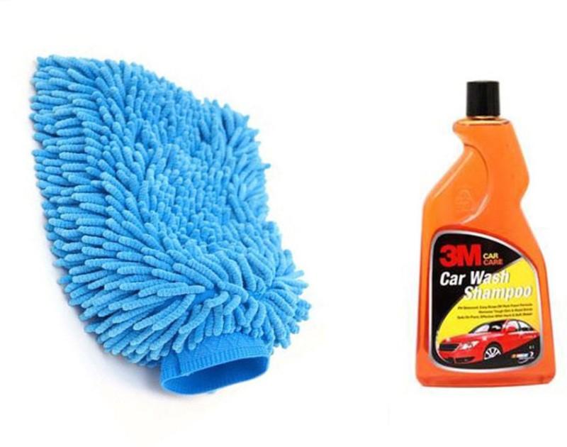 3M 1 Car Shampoo(500 Ml), 1 Microfiber Glove Mitt Combo
