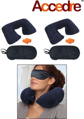 Accedre 1 Travel Combo-Inflatable Neck Cushion, 1 Eye Mask, 1 Ear Plugs(set of 1) Combo