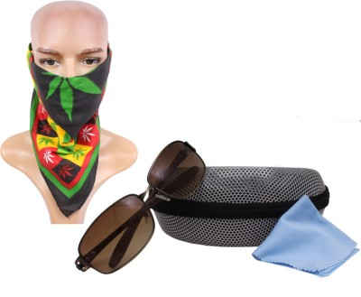 Sushito Brown Ridding Sunglass For Men With Headwrap Combo