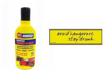 Abro 1 Combo Of Car Bumper Sticker-AVOID HANGOVERS, 1 ABRO Wash-n-Glow Shampoo (100 ml) Combo