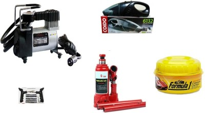 Voibu Coido 6132 Car Vacuum Cleaner (Black), 5 Ton Hydraulic Bottle Vehicle Jack, 150 PSI Tyre Air Pump for Car & Bike, puncture kit, Formula 1 Car Polish for Exterior(230 g) Combo