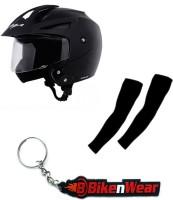 BikeNwear 1 Vega Crux Open Face Helmet-Black-(Size-M-58 Cms), 1 Pair Arm Sleeves-Black, 1 Keyring Combo