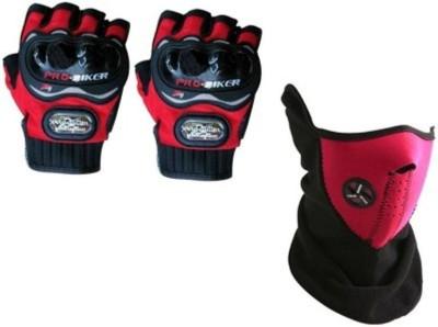 Bike World 1 Pro Biker XL Red half Gloves, 1 Red Half Face Mask Combo