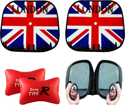 AutoKraftZ Car Side Sunshade England Flag design Set Of 2, Blind Spot Mirror, Type R Red Combo