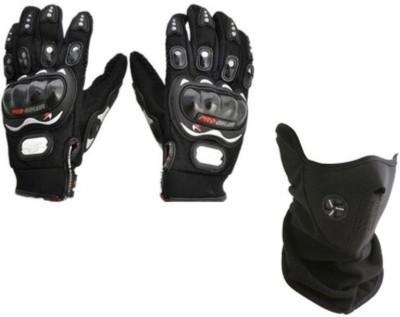 Pro Biker 1 Pro biker XL Black Gloves, 1 Neoprene Black Half Face Mask - Black Combo Combo