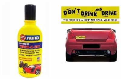 Abro 1 Combo Of Car Bumper Sticker-DRINK N DRIVE, 1 ABRO Wash-n-Glow Shampoo (100 ml) Combo