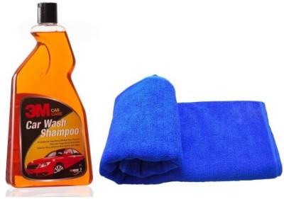 3M Care Shampoo Car Washing Liquid(1 L), Microfiber Vehicle Washing Cloth Combo