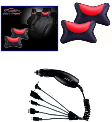 Auto Pearl 1Pcs Neck Rest Black and Red, 1Pcs Mobix Car Charger Combo