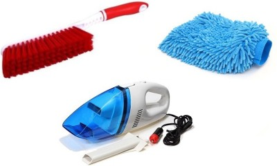 De AutoCare 3 in 1 Cleaning Kit of Car Vacuum Cleaner Portable & Light DC 12V Mini High Power, Multi-purpose Washing Microfiber Gloves, Carpet Dust Cleaner Brush with Hard & Long Bristles Combo