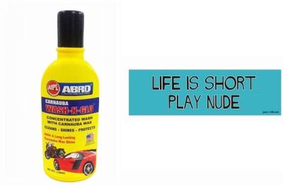 Abro 1 Car Bumper Sticker-Life Is Short, 1 Wash-N-Glow Shampoo (100 Ml) Combo