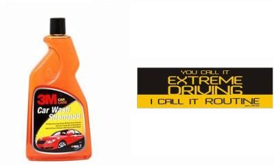 3M 1 Car Bumper Sticker-Extreme Driving, 1 Premium Shampoo 500ml Combo