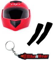 BikeNwear 1 Vega Crux Full Face Helmet-Red-(Size-M-58 Cms), 1 Pair Arm Sleeves-Black, 1 Keyring Combo