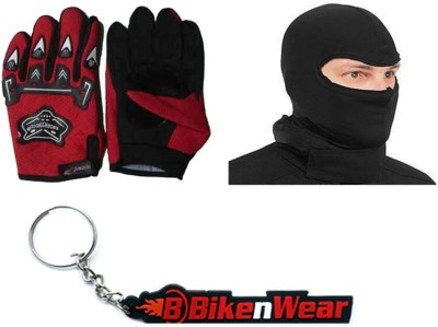 BikeNwear 1 Knighthood Gloves-Red, 1 Face Mask-Black, 1 Bikenwear Keyring Combo