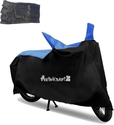 AutoKraftZ Premium Bike Body Cover Black & Blue, Half Cut Leather Gloves For Yamaha Fazer Combo