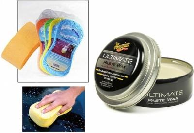 Meguiar's 1 Meguiars Ultimate Paste Wax Polish 450gm, 1 Magic Sponge Combo