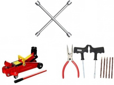 OEM 1 Combo of 4 Way Spanner, 1 HydraulicTrollyJack, 1 Tyre Puncture Kit Combo