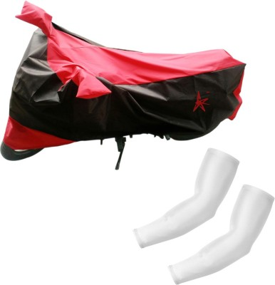 AdroitZ 1 Black & Red Two Wheeler Cover, 2 White Arm Sleeves Combo