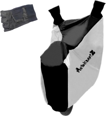 AutoKraftZ Premium Bike Body Cover Silver & Black::Half Cut Leather Gloves For Bajaj Avenger 150 Street Combo