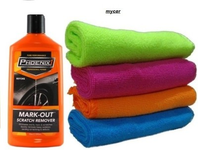 Mycar Phoenix1 Mark-Out Solution Scratch Remover, Car Microfibre Duster – Set of 4 Pcs. Fabric Vehicle Washing Cloth Combo