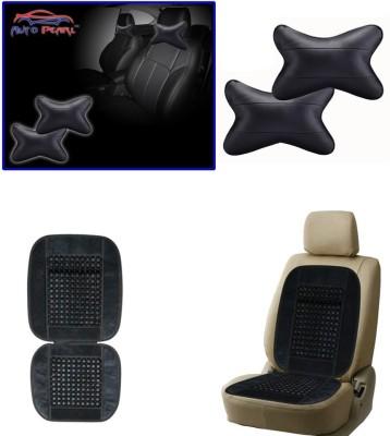 Auto Pearl 1Pcs Neck Rest Black, 1Pcs Bead Seat Cushion with Grey Velvet Border Combo