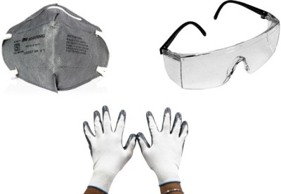 3M 1 Full Eye Cover Bike Goggles, 1 RidingGloves, 1 Anti Dust Face Mask Combo