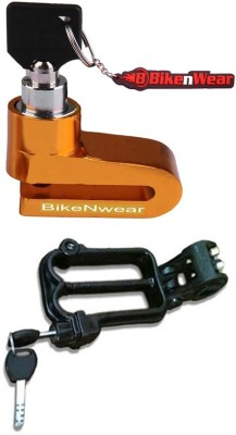 BikeNwear 1 Disc Brake Lock-Golden, 1 Helmet Lock-Black Combo