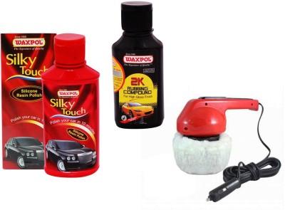 Waxpol 1 Car Polisher, 1 Waxpol Resin Polish 150ml, 1 Waxpol 2K Rubbing Compound 150gm Combo
