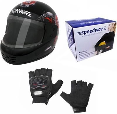 Speedwav 1 Helmet, 1 Riding Gloves Combo