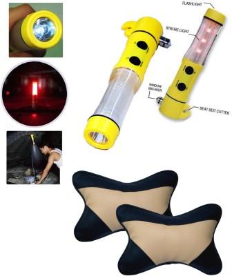 Auto Pearl 1Pcs 5in1 Window Glass Breaker,Emergency,Hammer, 1Pcs Black&Beige Car Neck Rest Combo