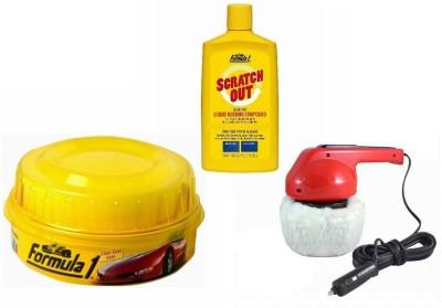 Coido 1 Car Polisher, 1 Formula 1 Carnauba Wax Polish, 1 Formula 1 Rubbing Compound Combo