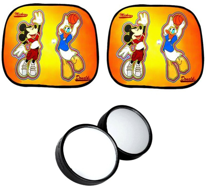 AutoKraftZ Car Side Sunshade Mickey Donald Design Set Of 2, Blind Spot Mirror Combo