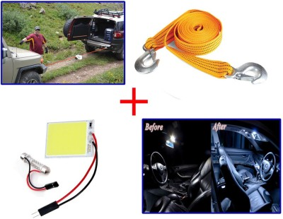 Auto Pearl 1Pcs 3 Ton 2.65Mtr Nylon Towing Cable, 1Pcs SMD/LED Interior Roof Ceiling White Color Light Combo