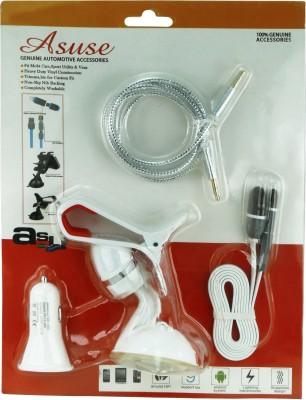 Asuse 1 car charger, 1 mobile holder, 1 2in1 usb cable iphone and adroid, 1 aux cable Combo