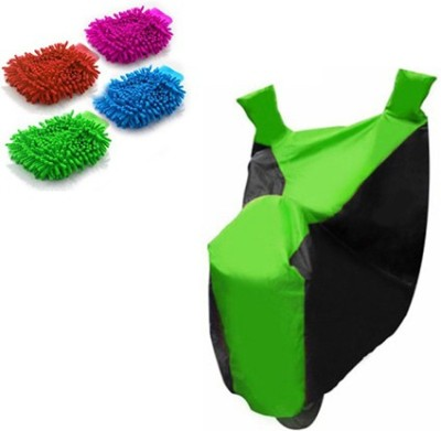 Retina 1x Universal Black & Green Bike Body Cover, 4x Microfiber Vehicle Washing Hand Gloves Combo