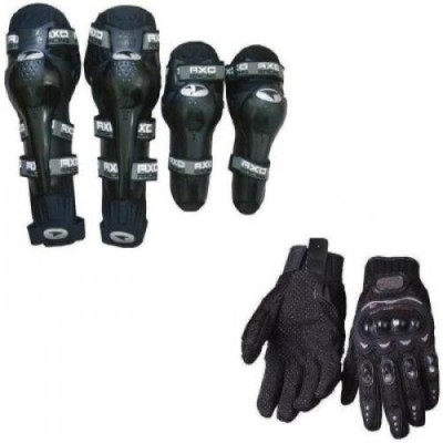 Joynix 1 Axo Knee And Elbow Guard, 1 Probiker Gloves Black XL Combo