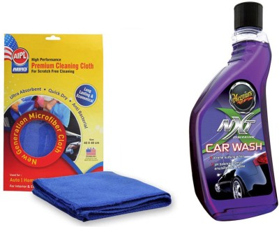 Meguiar's 1 Combo of Meguiars NXT Generation Car Wash-532ml, 1 Abro Microfiber Cloth Combo
