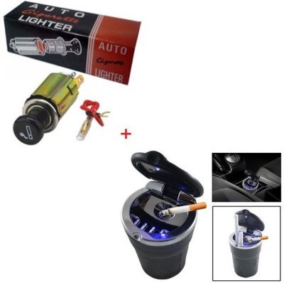 AutoStark Combo of Cigarette Lighter Cum Adaptor +Ashtray + Led Light Combo